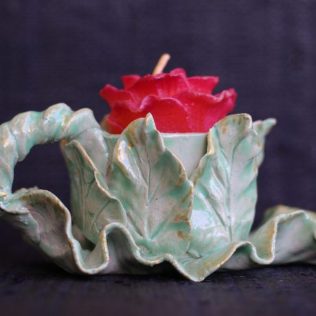 Leaf Candlestick w/red candle