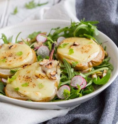 Warm Goat Cheese salad and Pears